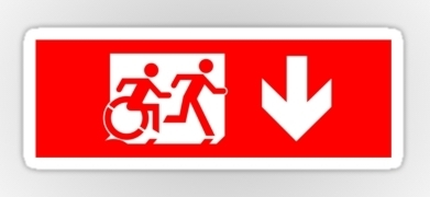Accessible Exit Sign Project Wheelchair Wheelie Running Man Symbol Means of Egress Icon Disability Emergency Evacuation Fire Safety Sticker 21