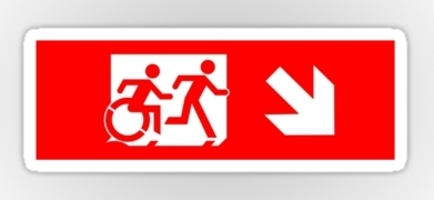 Accessible Exit Sign Project Wheelchair Wheelie Running Man Symbol Means of Egress Icon Disability Emergency Evacuation Fire Safety Sticker 22