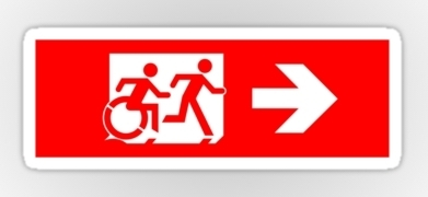 Accessible Exit Sign Project Wheelchair Wheelie Running Man Symbol Means of Egress Icon Disability Emergency Evacuation Fire Safety Sticker 24