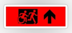 Accessible Exit Sign Project Wheelchair Wheelie Running Man Symbol Means of Egress Icon Disability Emergency Evacuation Fire Safety Sticker 27