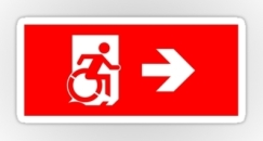 Accessible Exit Sign Project Wheelchair Wheelie Running Man Symbol Means of Egress Icon Disability Emergency Evacuation Fire Safety Sticker 28