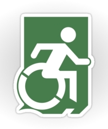 Accessible Exit Sign Project Wheelchair Wheelie Running Man Symbol Means of Egress Icon Disability Emergency Evacuation Fire Safety Sticker 3