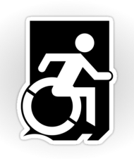 Accessible Exit Sign Project Wheelchair Wheelie Running Man Symbol Means of Egress Icon Disability Emergency Evacuation Fire Safety Sticker 35