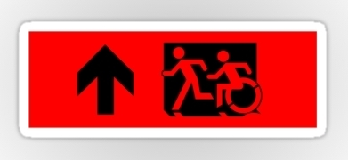 Accessible Exit Sign Project Wheelchair Wheelie Running Man Symbol Means of Egress Icon Disability Emergency Evacuation Fire Safety Sticker 36