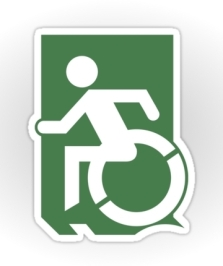 Accessible Exit Sign Project Wheelchair Wheelie Running Man Symbol Means of Egress Icon Disability Emergency Evacuation Fire Safety Sticker 37