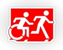 Accessible Exit Sign Project Wheelchair Wheelie Running Man Symbol Means of Egress Icon Disability Emergency Evacuation Fire Safety Sticker 39
