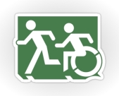 Accessible Exit Sign Project Wheelchair Wheelie Running Man Symbol Means of Egress Icon Disability Emergency Evacuation Fire Safety Sticker 41