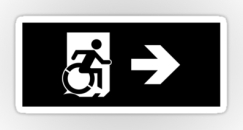 Accessible Exit Sign Project Wheelchair Wheelie Running Man Symbol Means of Egress Icon Disability Emergency Evacuation Fire Safety Sticker 43