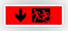 Accessible Exit Sign Project Wheelchair Wheelie Running Man Symbol Means of Egress Icon Disability Emergency Evacuation Fire Safety Sticker 44