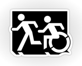 Accessible Exit Sign Project Wheelchair Wheelie Running Man Symbol Means of Egress Icon Disability Emergency Evacuation Fire Safety Sticker 45