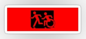 Accessible Exit Sign Project Wheelchair Wheelie Running Man Symbol Means of Egress Icon Disability Emergency Evacuation Fire Safety Sticker 46