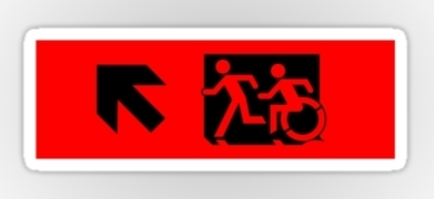 Accessible Exit Sign Project Wheelchair Wheelie Running Man Symbol Means of Egress Icon Disability Emergency Evacuation Fire Safety Sticker 47