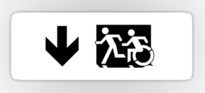 Accessible Exit Sign Project Wheelchair Wheelie Running Man Symbol Means of Egress Icon Disability Emergency Evacuation Fire Safety Sticker 48