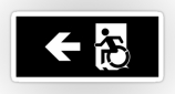 Accessible Exit Sign Project Wheelchair Wheelie Running Man Symbol Means of Egress Icon Disability Emergency Evacuation Fire Safety Sticker 50
