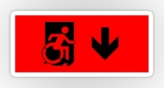 Accessible Exit Sign Project Wheelchair Wheelie Running Man Symbol Means of Egress Icon Disability Emergency Evacuation Fire Safety Sticker 5