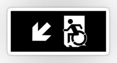 Accessible Exit Sign Project Wheelchair Wheelie Running Man Symbol Means of Egress Icon Disability Emergency Evacuation Fire Safety Sticker 52