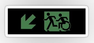 Accessible Exit Sign Project Wheelchair Wheelie Running Man Symbol Means of Egress Icon Disability Emergency Evacuation Fire Safety Sticker 53
