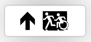 Accessible Exit Sign Project Wheelchair Wheelie Running Man Symbol Means of Egress Icon Disability Emergency Evacuation Fire Safety Sticker 54