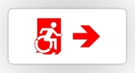 Accessible Exit Sign Project Wheelchair Wheelie Running Man Symbol Means of Egress Icon Disability Emergency Evacuation Fire Safety Sticker 56