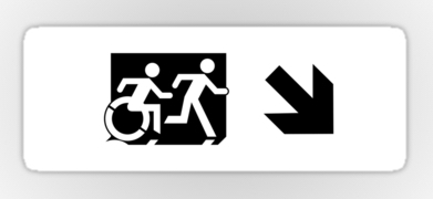 Accessible Exit Sign Project Wheelchair Wheelie Running Man Symbol Means of Egress Icon Disability Emergency Evacuation Fire Safety Sticker 57