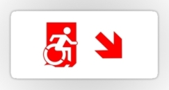 Accessible Exit Sign Project Wheelchair Wheelie Running Man Symbol Means of Egress Icon Disability Emergency Evacuation Fire Safety Sticker 58