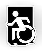 Accessible Exit Sign Project Wheelchair Wheelie Running Man Symbol Means of Egress Icon Disability Emergency Evacuation Fire Safety Sticker 59