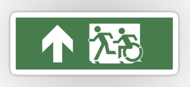 Accessible Exit Sign Project Wheelchair Wheelie Running Man Symbol Means of Egress Icon Disability Emergency Evacuation Fire Safety Sticker 6