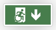 Accessible Exit Sign Project Wheelchair Wheelie Running Man Symbol Means of Egress Icon Disability Emergency Evacuation Fire Safety Sticker 60