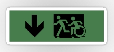 Accessible Exit Sign Project Wheelchair Wheelie Running Man Symbol Means of Egress Icon Disability Emergency Evacuation Fire Safety Sticker 62
