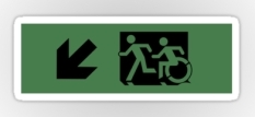 Accessible Exit Sign Project Wheelchair Wheelie Running Man Symbol Means of Egress Icon Disability Emergency Evacuation Fire Safety Sticker 64