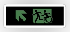 Accessible Exit Sign Project Wheelchair Wheelie Running Man Symbol Means of Egress Icon Disability Emergency Evacuation Fire Safety Sticker 65