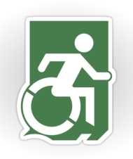 Accessible Exit Sign Project Wheelchair Wheelie Running Man Symbol Means of Egress Icon Disability Emergency Evacuation Fire Safety Sticker 66
