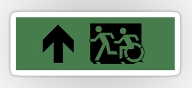 Accessible Exit Sign Project Wheelchair Wheelie Running Man Symbol Means of Egress Icon Disability Emergency Evacuation Fire Safety Sticker 68