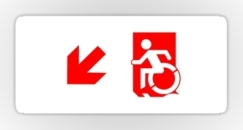 Accessible Exit Sign Project Wheelchair Wheelie Running Man Symbol Means of Egress Icon Disability Emergency Evacuation Fire Safety Sticker 70