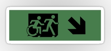 Accessible Exit Sign Project Wheelchair Wheelie Running Man Symbol Means of Egress Icon Disability Emergency Evacuation Fire Safety Sticker 71