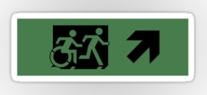 Accessible Exit Sign Project Wheelchair Wheelie Running Man Symbol Means of Egress Icon Disability Emergency Evacuation Fire Safety Sticker 72