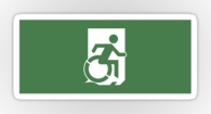 Accessible Exit Sign Project Wheelchair Wheelie Running Man Symbol Means of Egress Icon Disability Emergency Evacuation Fire Safety Sticker 75