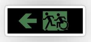 Accessible Exit Sign Project Wheelchair Wheelie Running Man Symbol Means of Egress Icon Disability Emergency Evacuation Fire Safety Sticker 76