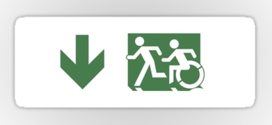 Accessible Exit Sign Project Wheelchair Wheelie Running Man Symbol Means of Egress Icon Disability Emergency Evacuation Fire Safety Sticker 77