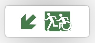 Accessible Exit Sign Project Wheelchair Wheelie Running Man Symbol Means of Egress Icon Disability Emergency Evacuation Fire Safety Sticker 78