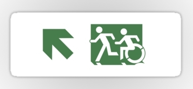 Accessible Exit Sign Project Wheelchair Wheelie Running Man Symbol Means of Egress Icon Disability Emergency Evacuation Fire Safety Sticker 79