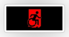 Accessible Exit Sign Project Wheelchair Wheelie Running Man Symbol Means of Egress Icon Disability Emergency Evacuation Fire Safety Sticker 80