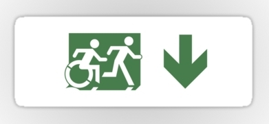 Accessible Exit Sign Project Wheelchair Wheelie Running Man Symbol Means of Egress Icon Disability Emergency Evacuation Fire Safety Sticker 82