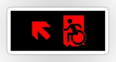 Accessible Exit Sign Project Wheelchair Wheelie Running Man Symbol Means of Egress Icon Disability Emergency Evacuation Fire Safety Sticker 83