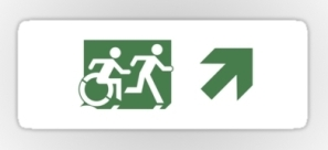 Accessible Exit Sign Project Wheelchair Wheelie Running Man Symbol Means of Egress Icon Disability Emergency Evacuation Fire Safety Sticker 84