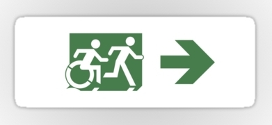 Accessible Exit Sign Project Wheelchair Wheelie Running Man Symbol Means of Egress Icon Disability Emergency Evacuation Fire Safety Sticker 85