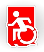 Accessible Exit Sign Project Wheelchair Wheelie Running Man Symbol Means of Egress Icon Disability Emergency Evacuation Fire Safety Sticker 88