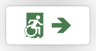 Accessible Exit Sign Project Wheelchair Wheelie Running Man Symbol Means of Egress Icon Disability Emergency Evacuation Fire Safety Sticker 90