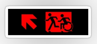 Accessible Exit Sign Project Wheelchair Wheelie Running Man Symbol Means of Egress Icon Disability Emergency Evacuation Fire Safety Sticker 92