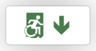 Accessible Exit Sign Project Wheelchair Wheelie Running Man Symbol Means of Egress Icon Disability Emergency Evacuation Fire Safety Sticker 93